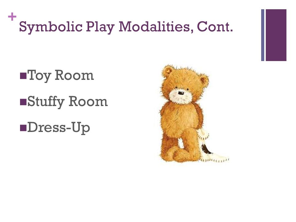 + Symbolic Play Modalities, Cont. Toy Room Stuffy Room Dress-Up