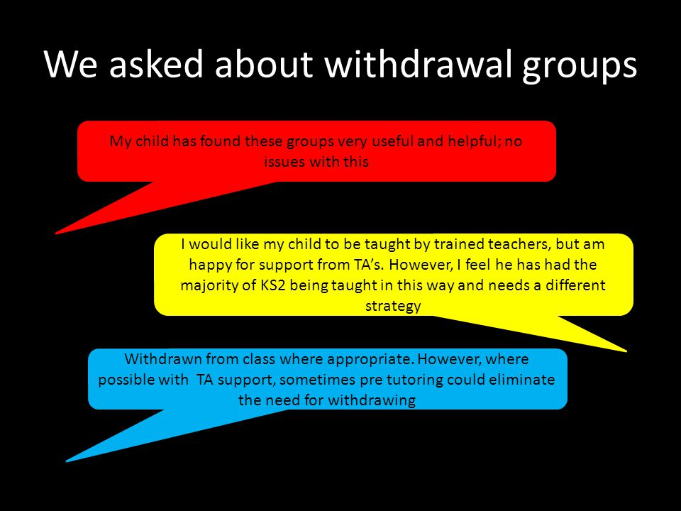 We asked about withdrawal groups My child has found these groups very useful and helpful; no issues with this I would like my child to be taught by trained teachers, but am happy for support from TA's.