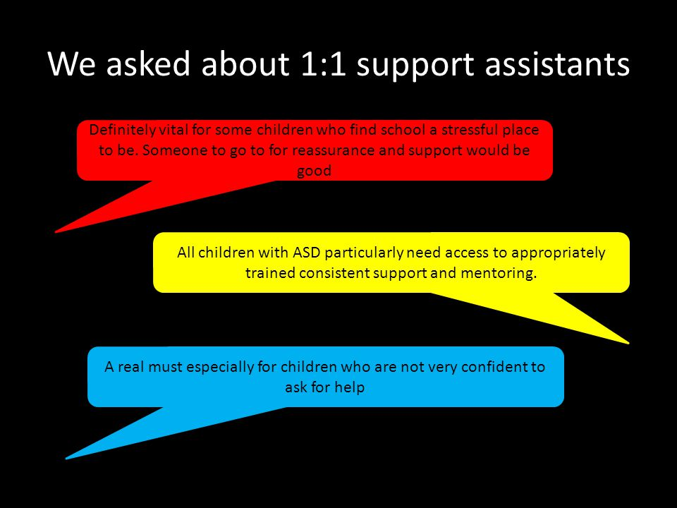 We asked about 1:1 support assistants Definitely vital for some children who find school a stressful place to be.