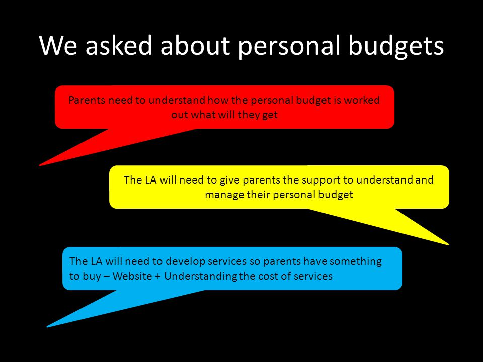 We asked about personal budgets Parents need to understand how the personal budget is worked out what will they get The LA will need to give parents the support to understand and manage their personal budget The LA will need to develop services so parents have something to buy – Website + Understanding the cost of services