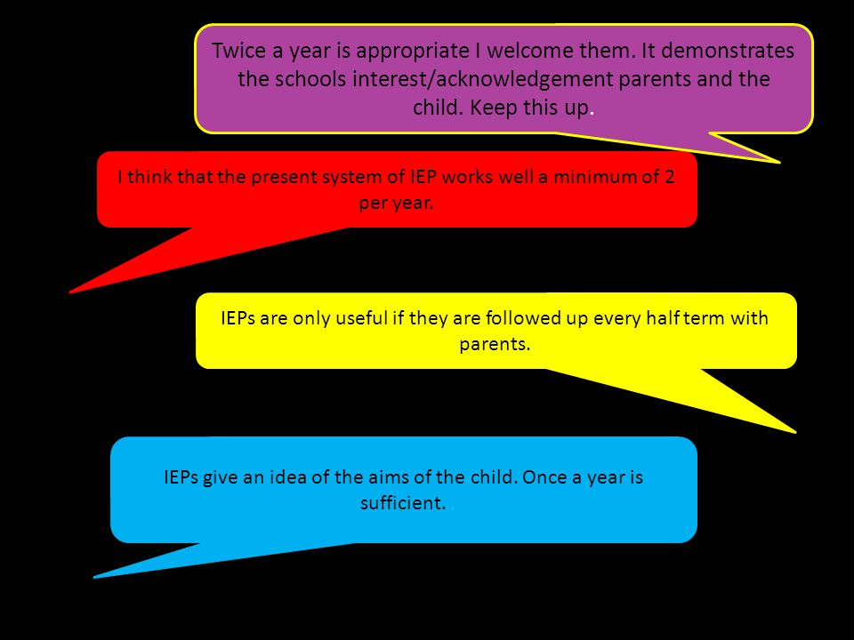 I think that the present system of IEP works well a minimum of 2 per year.
