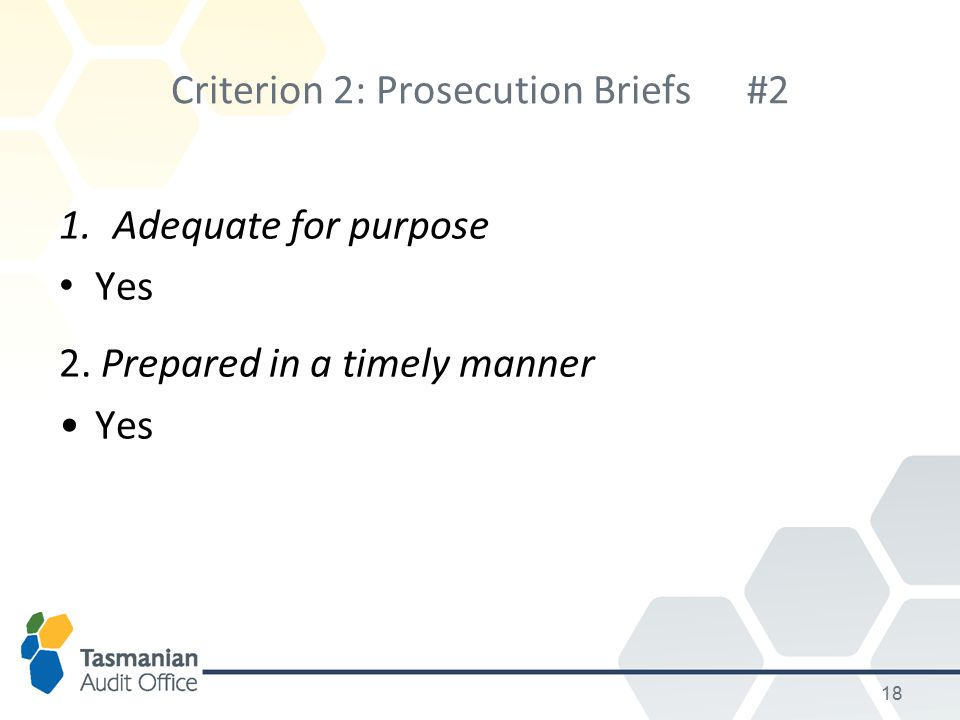 Criterion 2: Prosecution Briefs#2 1.Adequate for purpose Yes 2. Prepared in a timely manner Yes 18
