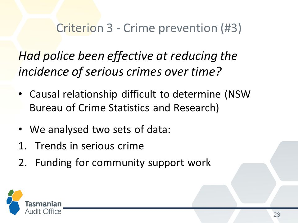 Criterion 3 - Crime prevention (#3) Had police been effective at reducing the incidence of serious crimes over time.