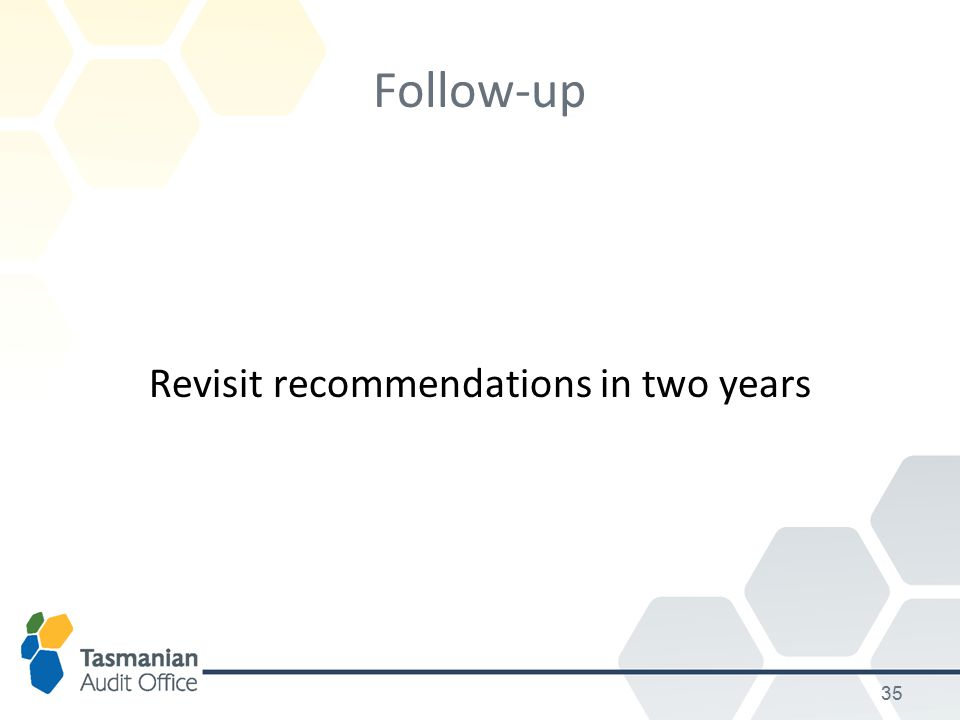 35 Follow-up Revisit recommendations in two years