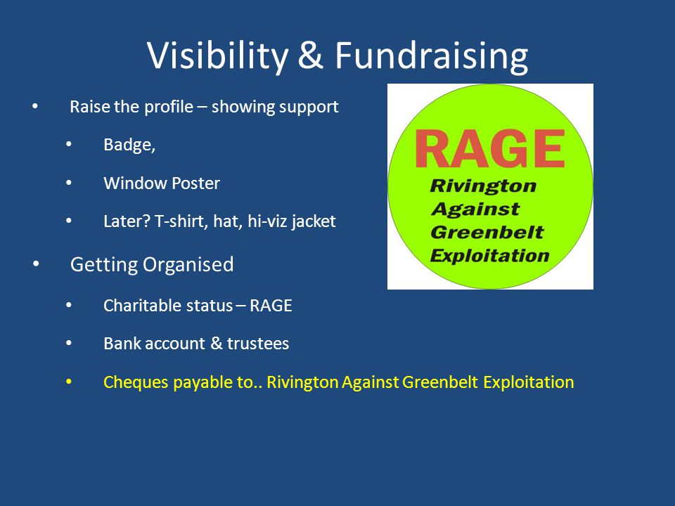 Visibility & Fundraising Raise the profile – showing support Badge, Window Poster Later.