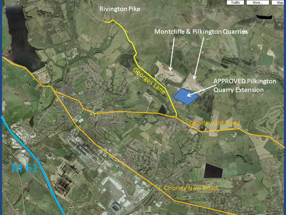 Stone to be removed between 2 quarries Contaminated & Unstable Buttress APPROVED extension to Pilkington Montcliffe to be used for HUGE 'recycling facility' Pilkington to be used for dumping material that can't be recycled