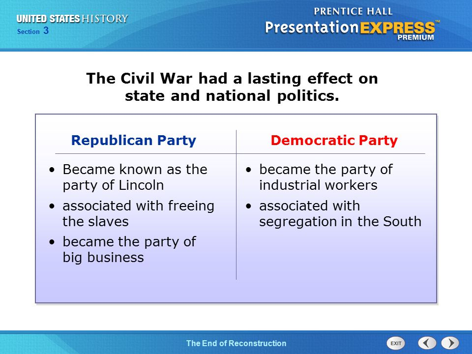 Chapter 25 Section 1 The Cold War Begins Section 3 The End of Reconstruction The Civil War had a lasting effect on state and national politics. Democr