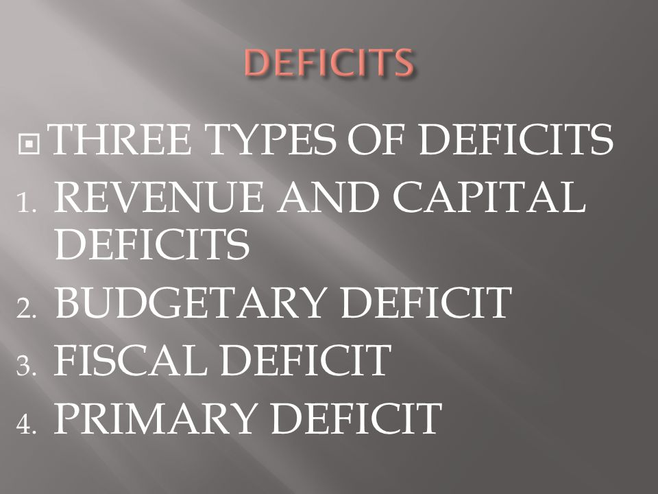  THREE TYPES OF DEFICITS 1. REVENUE AND CAPITAL DEFICITS 2. BUDGETARY DEFICIT 3. FISCAL DEFICIT 4. PRIMARY DEFICIT
