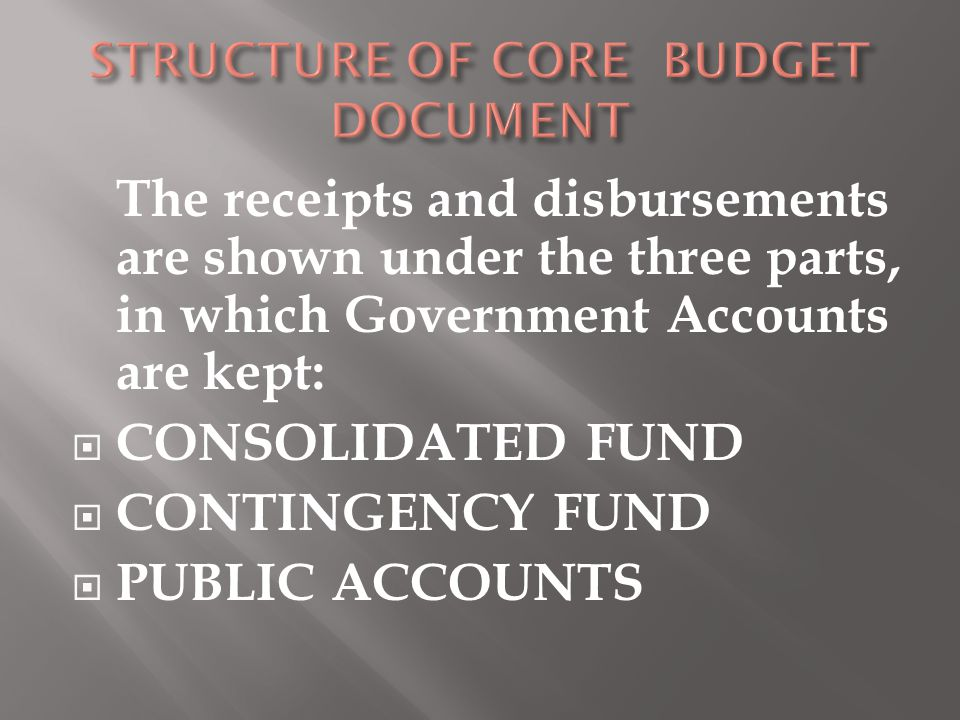 The receipts and disbursements are shown under the three parts, in which Government Accounts are kept:  CONSOLIDATED FUND  CONTINGENCY FUND  PUBLIC