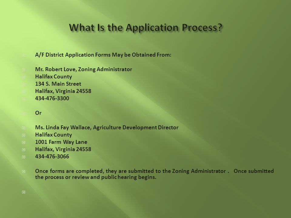  A/F District Application Forms May be Obtained From:  Mr.