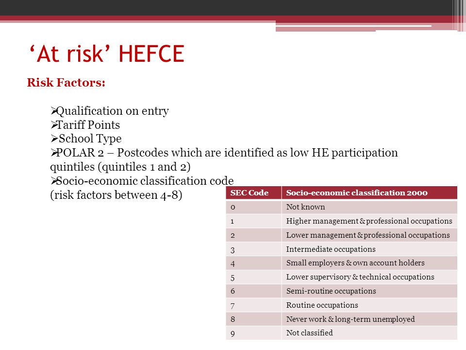 Oxford Brookes 'at risk' (School of Life Sciences) – The Robbins Method vs HEFCE 'at risk' criteria Conclusion:  The Robbins method identified 451 students as 'at risk of failure' or as 'disengaged'.