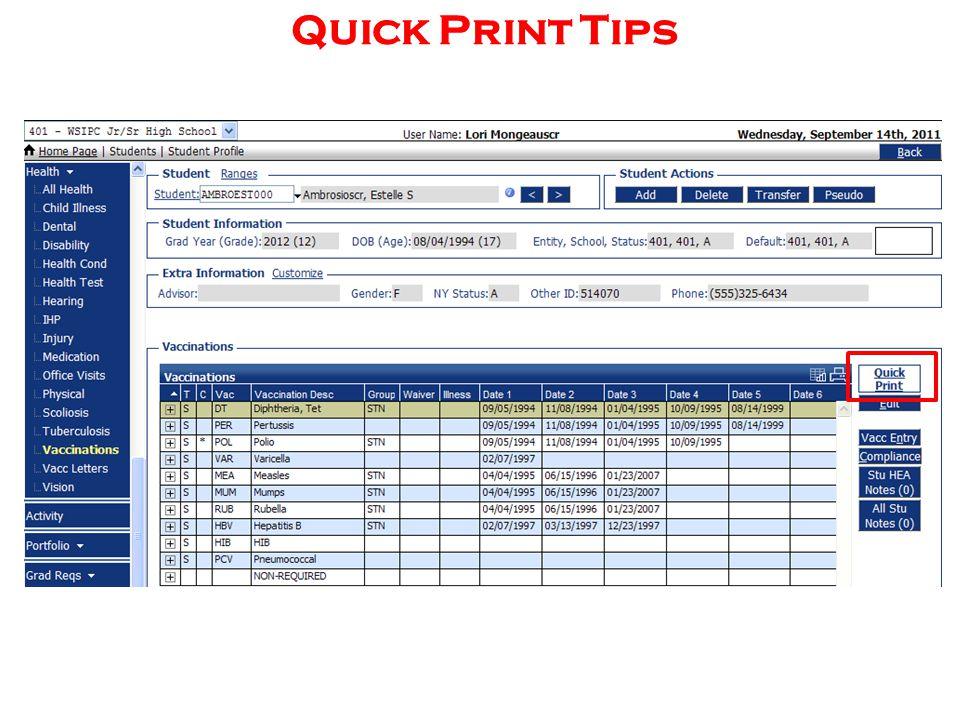 Quick Print Tips