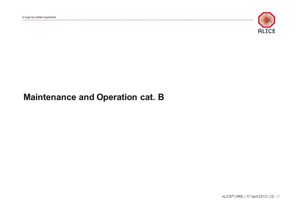 Maintenance and Operation cat. B 20 ALICE © | RRB | 17 April 2013 | CD