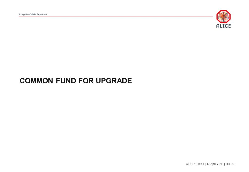 COMMON FUND FOR UPGRADE 29 ALICE © | RRB | 17 April 2013 | CD