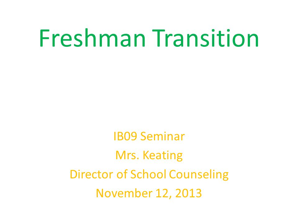 Freshman Transition IB09 Seminar Mrs. Keating Director of School Counseling November 12, 2013