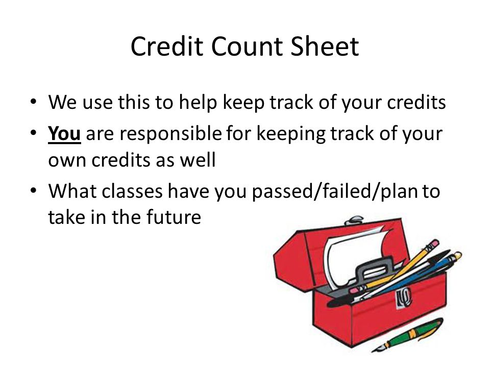 Credit Count Sheet We use this to help keep track of your credits You are responsible for keeping track of your own credits as well What classes have you passed/failed/plan to take in the future