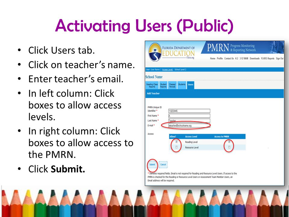 Activating Users (Public) Click Users tab. Click on teacher's name.
