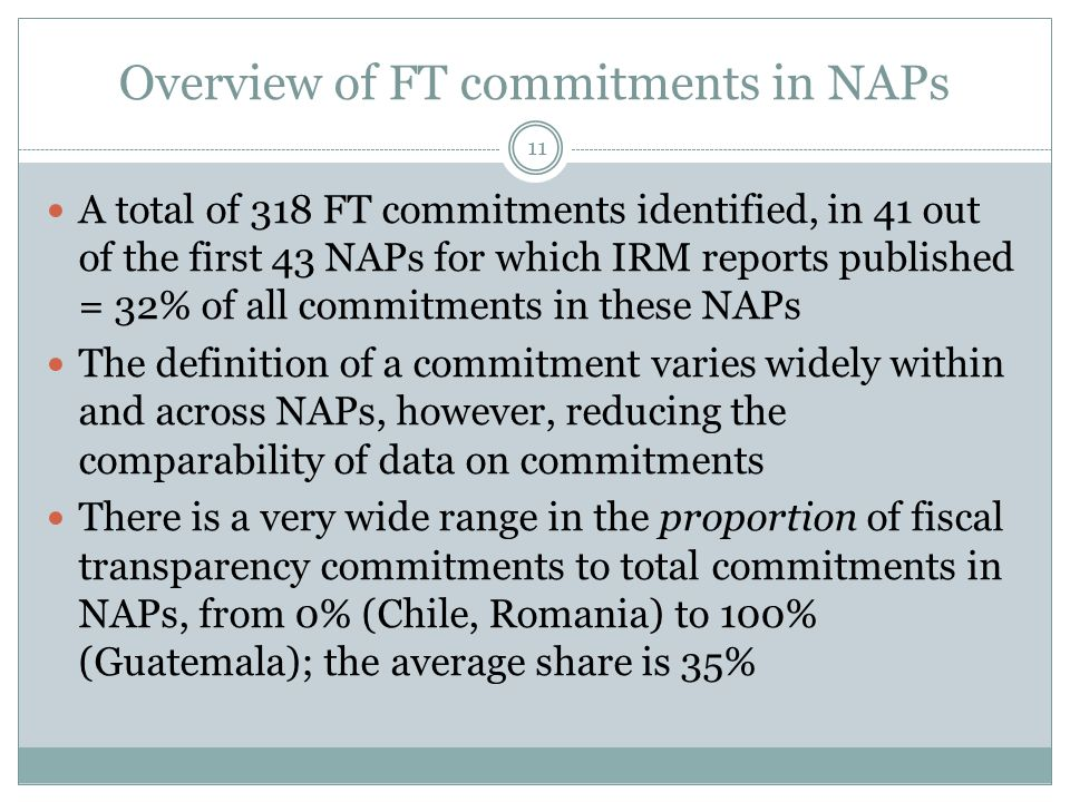 Overview of FT commitments in NAPs 11 A total of 318 FT commitments identified, in 41 out of the first 43 NAPs for which IRM reports published = 32% o