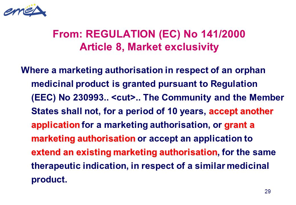 29 From: REGULATION (EC) No 141/2000 Article 8, Market exclusivity accept another applicationgrant a marketing authorisation extend an existing market