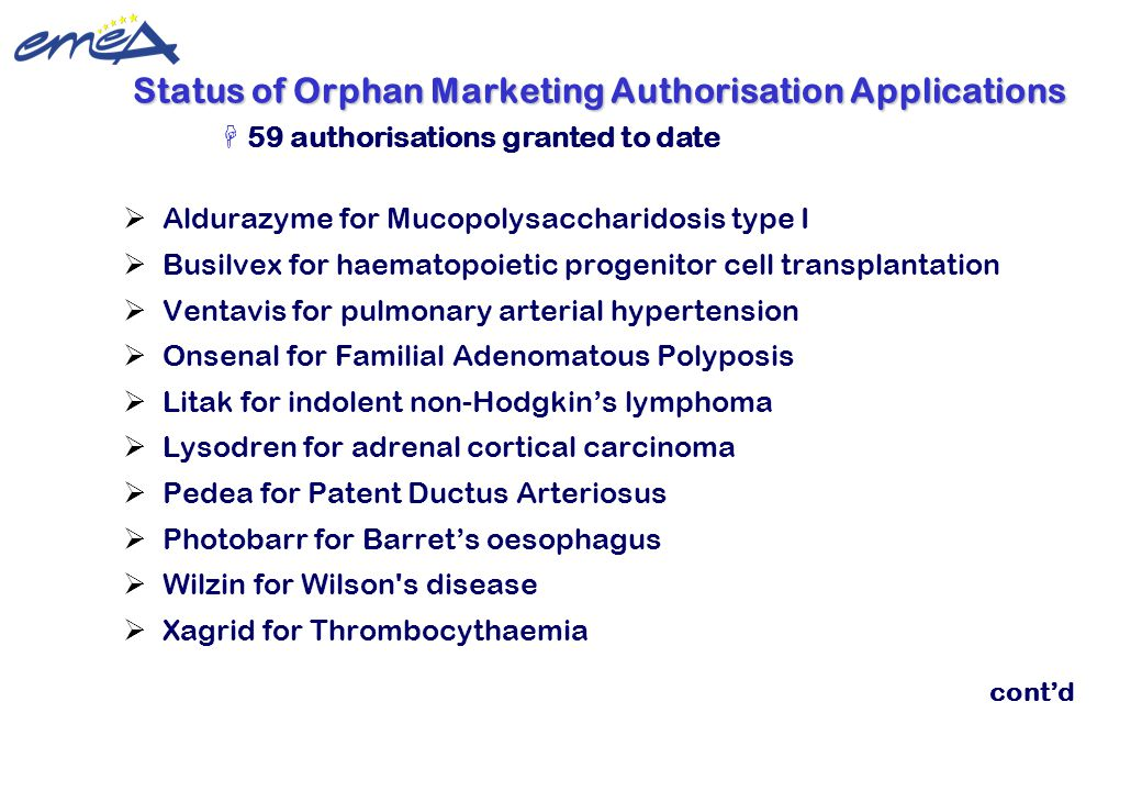 Update 22 February 2010 ©European Medicines Agency  Aldurazyme for Mucopolysaccharidosis type I  Busilvex for haematopoietic progenitor cell transpl