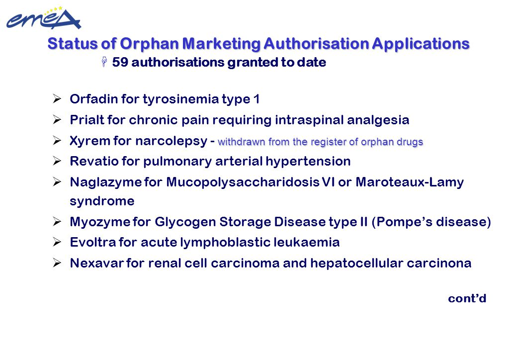 Update 22 February 2010 ©European Medicines Agency  Orfadin for tyrosinemia type 1  Prialt for chronic pain requiring intraspinal analgesia withdraw