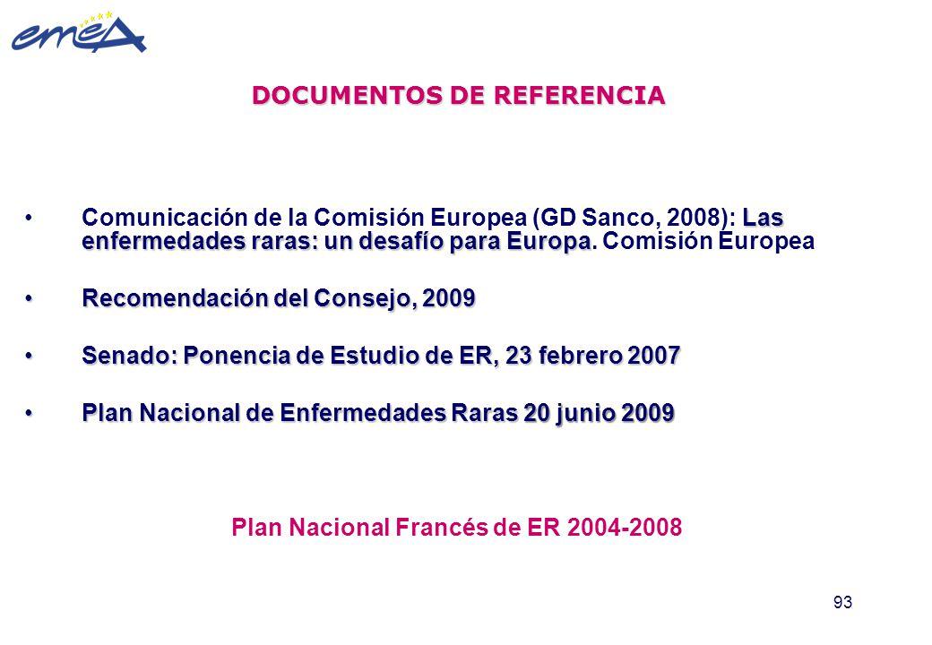 93 DOCUMENTOS DE REFERENCIA Las enfermedades raras: un desafío para EuropaComunicación de la Comisión Europea (GD Sanco, 2008): Las enfermedades raras
