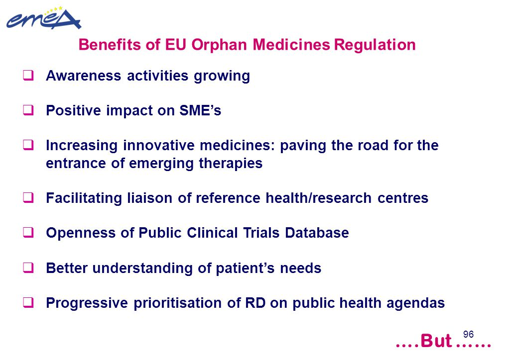 96  Awareness activities growing  Positive impact on SME's  Increasing innovative medicines: paving the road for the entrance of emerging therapies