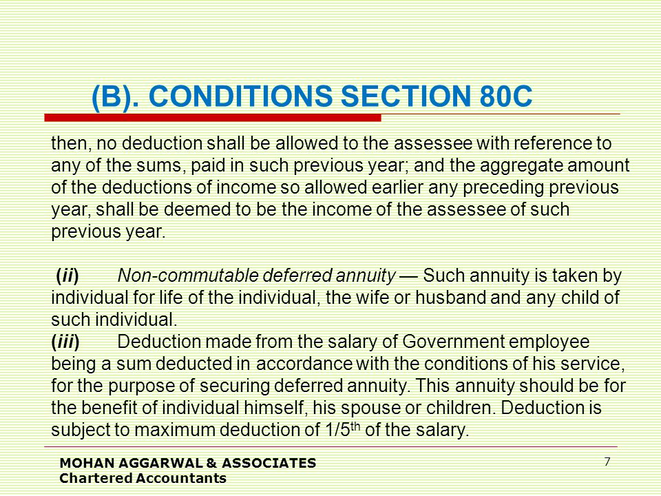 MOHAN AGGARWAL & ASSOCIATES Chartered Accountants 7 then, no deduction shall be allowed to the assessee with reference to any of the sums, paid in such previous year; and the aggregate amount of the deductions of income so allowed earlier any preceding previous year, shall be deemed to be the income of the assessee of such previous year.