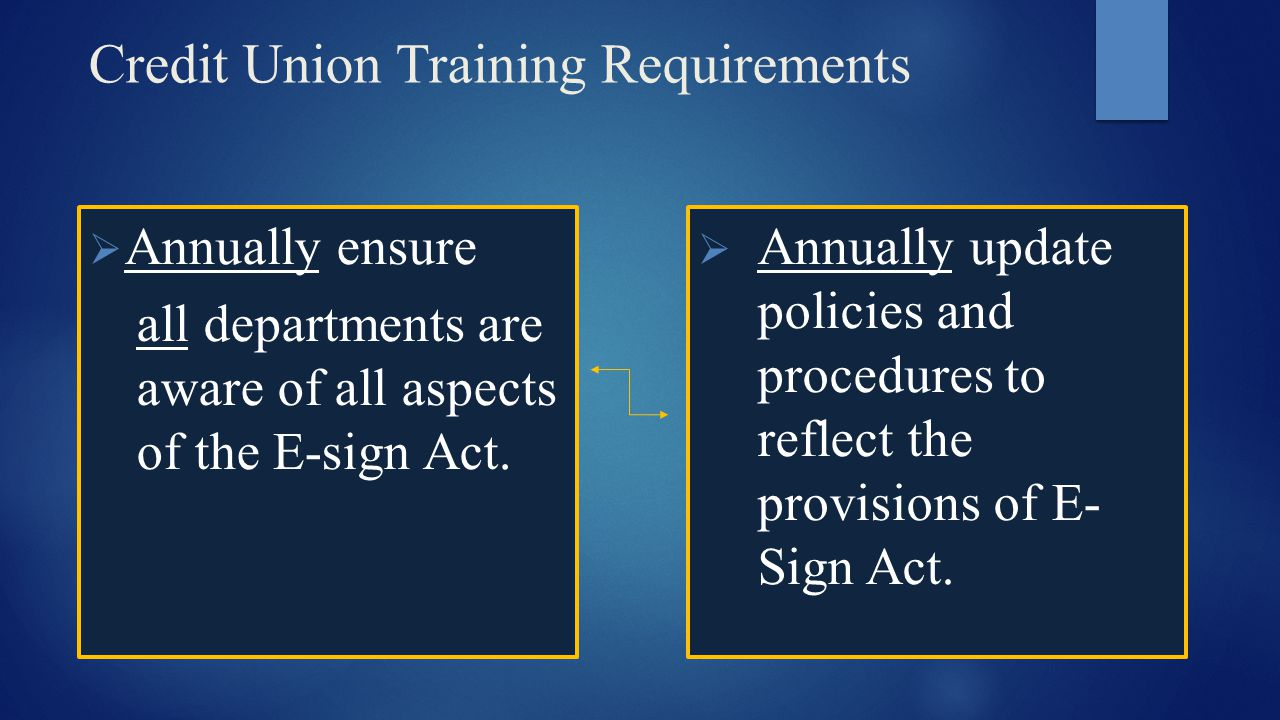 Credit Union Training Requirements  Annually ensure all departments are aware of all aspects of the E-sign Act.  Annually update policies and proced