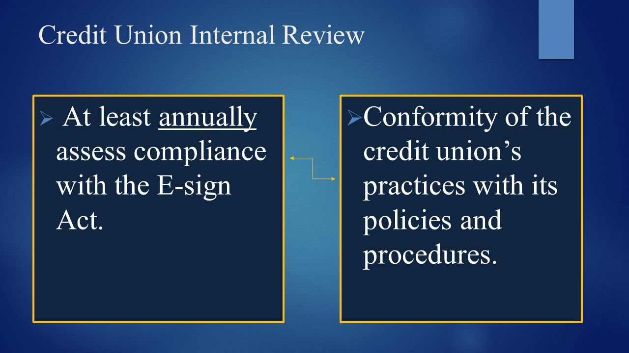 Credit Union Internal Review  At least annually assess compliance with the E-sign Act.  Conformity of the credit union's practices with its policies