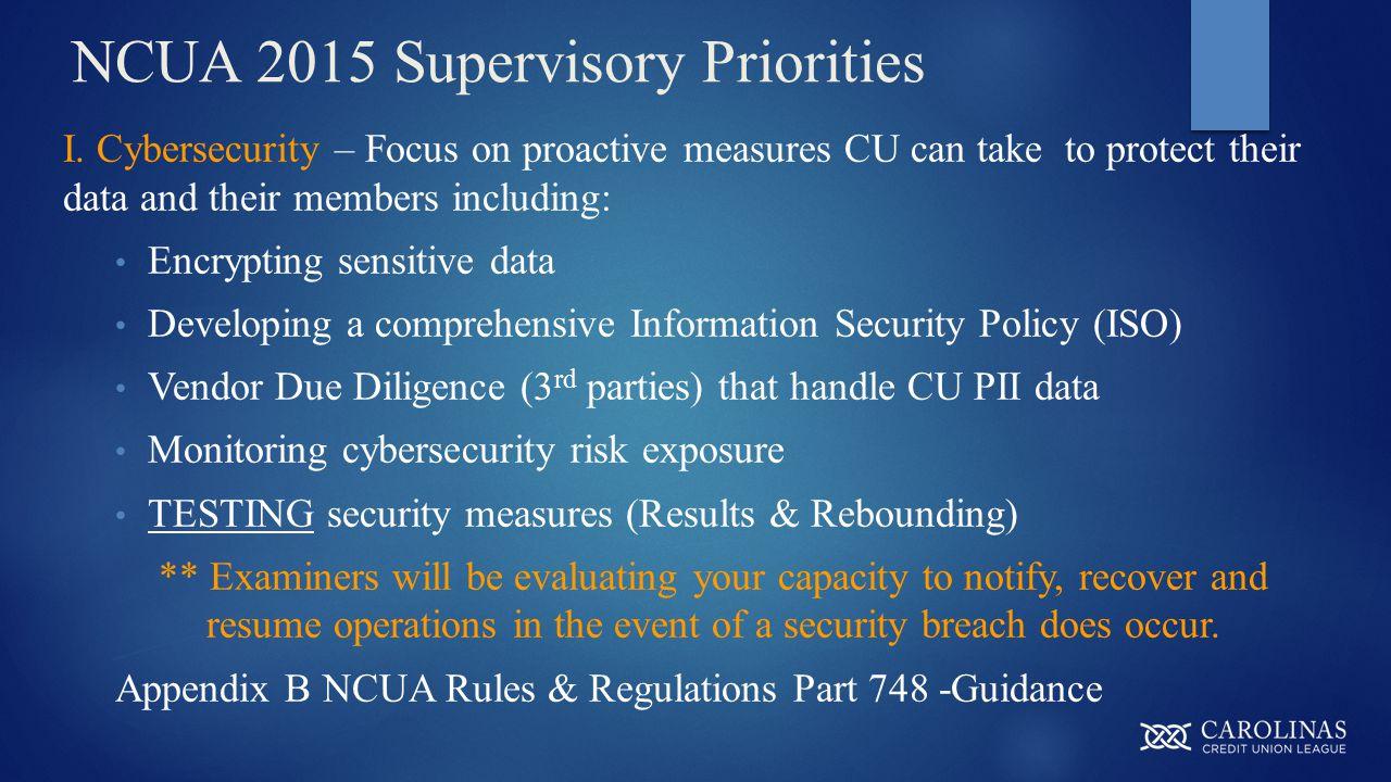 NCUA 2015 Supervisory Priorities I.