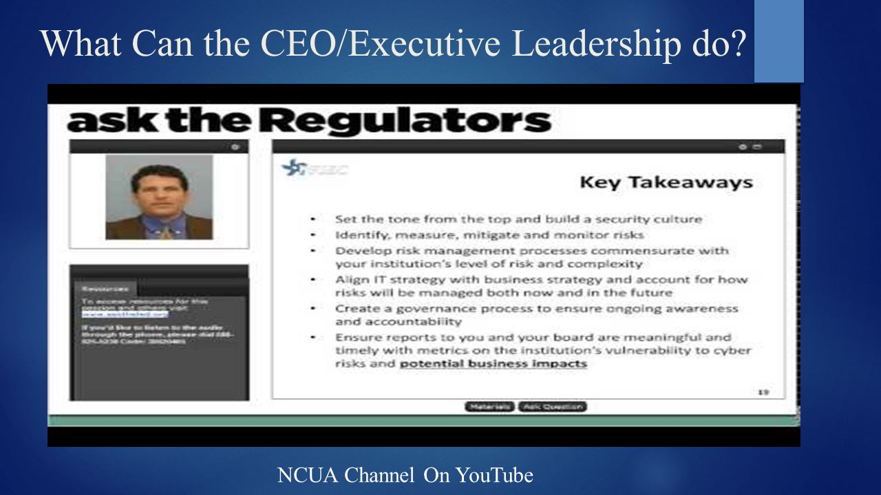 What Can the CEO/Executive Leadership do? NCUA Channel On YouTube