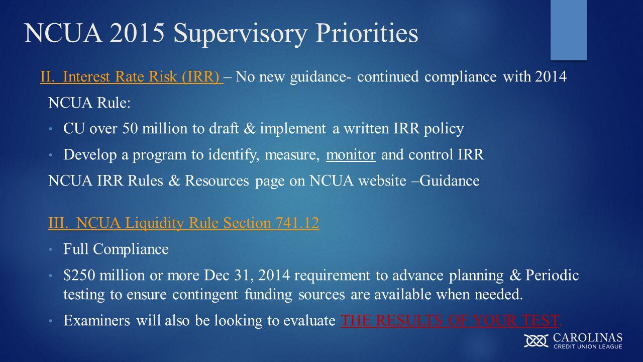 NCUA 2015 Supervisory Priorities II.