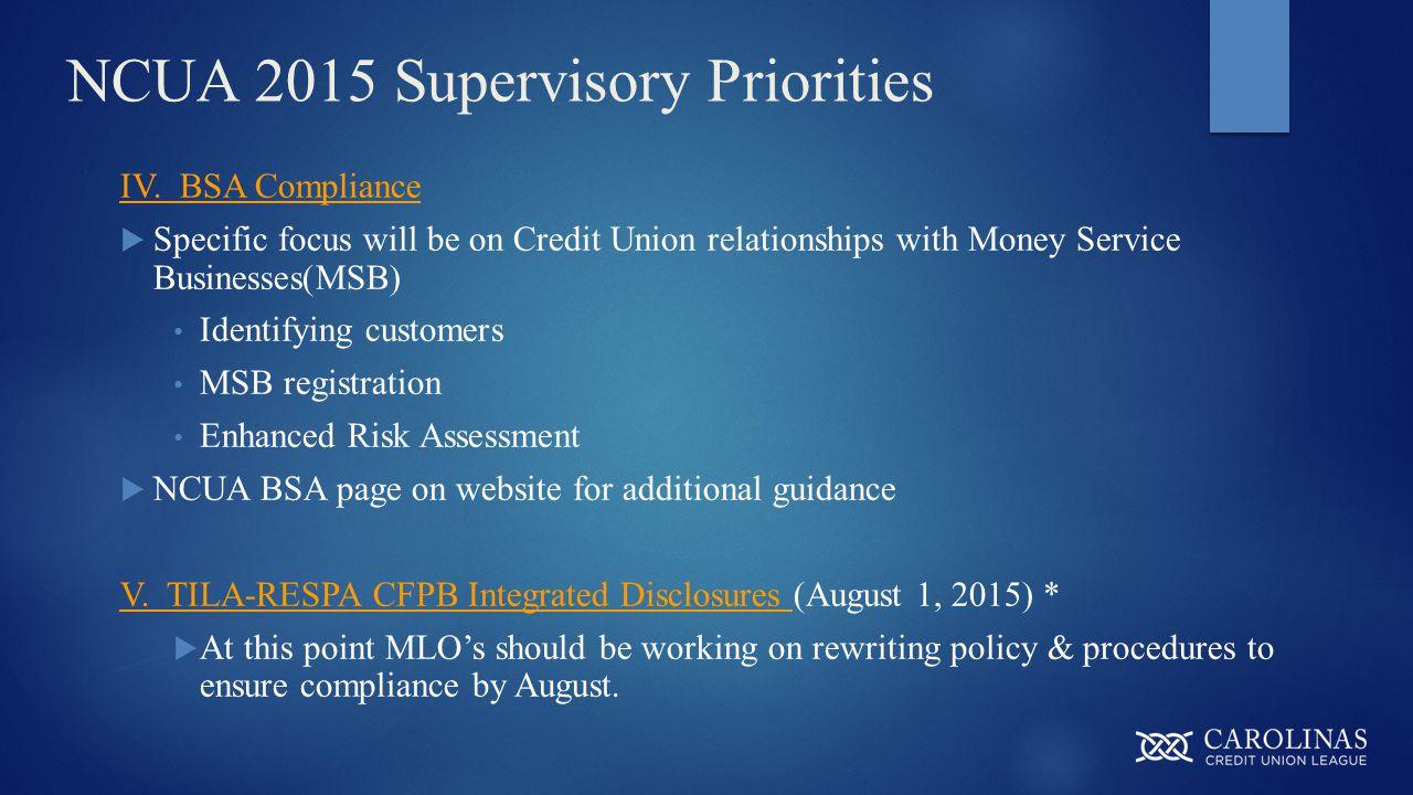 NCUA 2015 Supervisory Priorities IV.