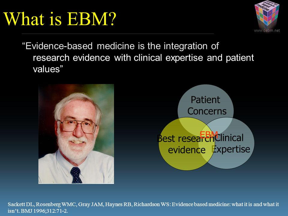 """www.cebm.net """"Evidence-based medicine is the integration of best research evidence with clinical expertise and patient values"""" Sackett DL, Rosenberg W"""