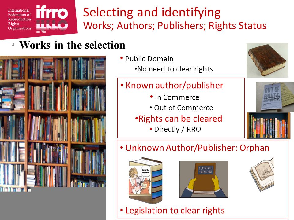 OOC in digitisation project s RROs the natural one stop shop RROs – Mandated – Established – Owned jointly by – Governed – Licenceon behalf of collectively } Authors & Publishers Rights in OOC may be with Authors Publishers 2.