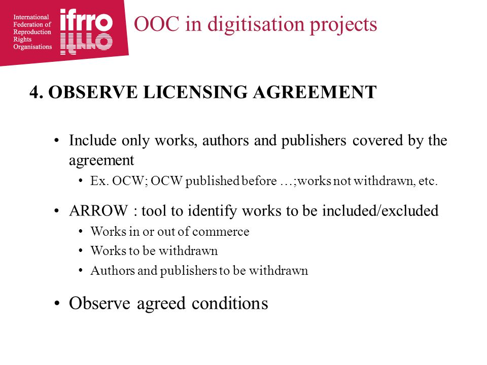 OOC in digitisation projects 5.