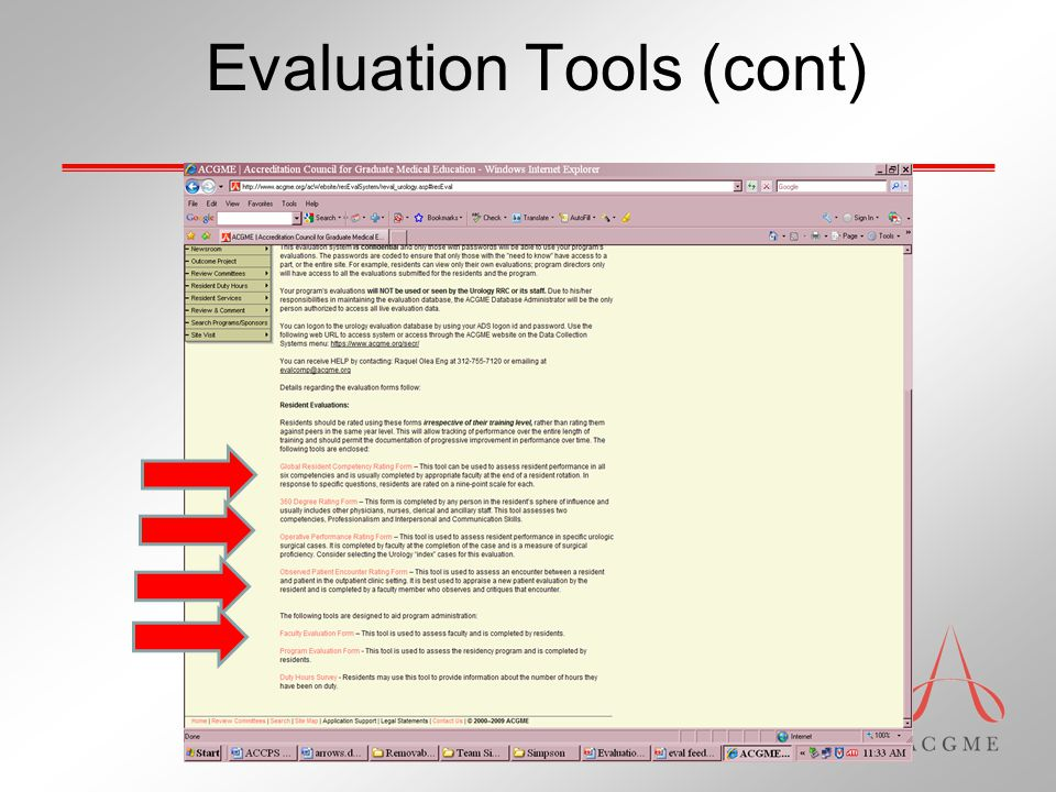 Evaluation Tools (cont)