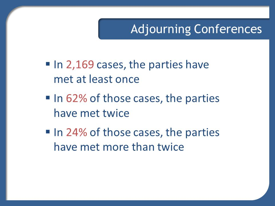 Adjourning Conferences  In 2,169 cases, the parties have met at least once  In 62% of those cases, the parties have met twice  In 24% of those case