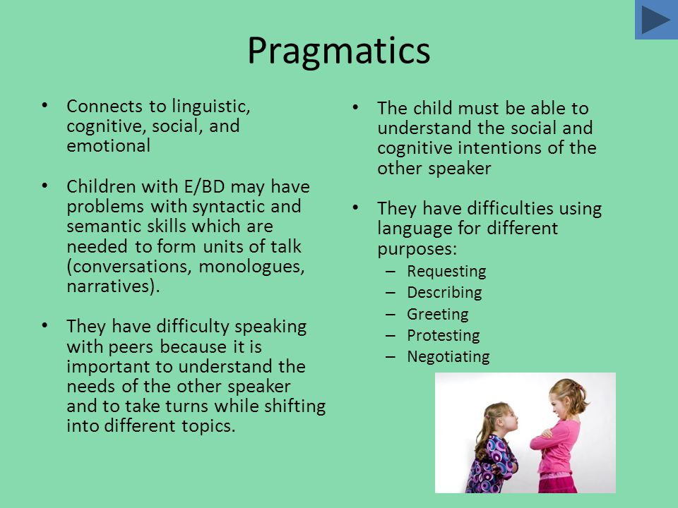 Students with E/BD Have Higher Risks Children with expressive language problems increase the risk of maintaining or increasing behavioral problems Have fewer opportunities to interact with peers Fewer opportunities for interactions leads to further language development delays