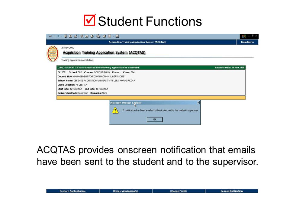 The student can also add comments to the Cancellation Reason.