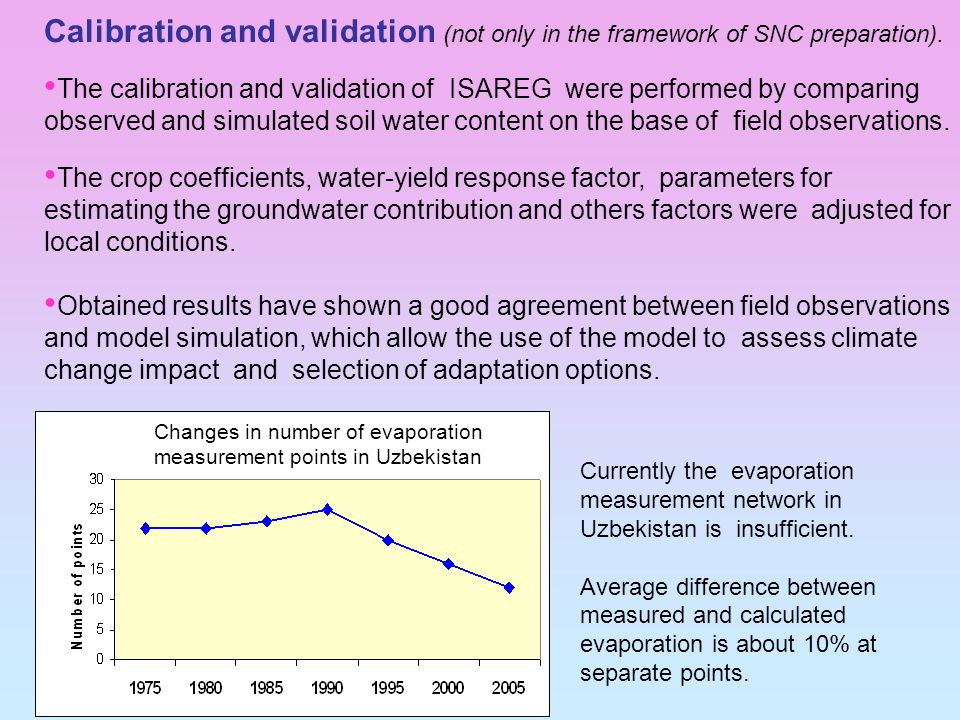 Calibration and validation (not only in the framework of SNC preparation).