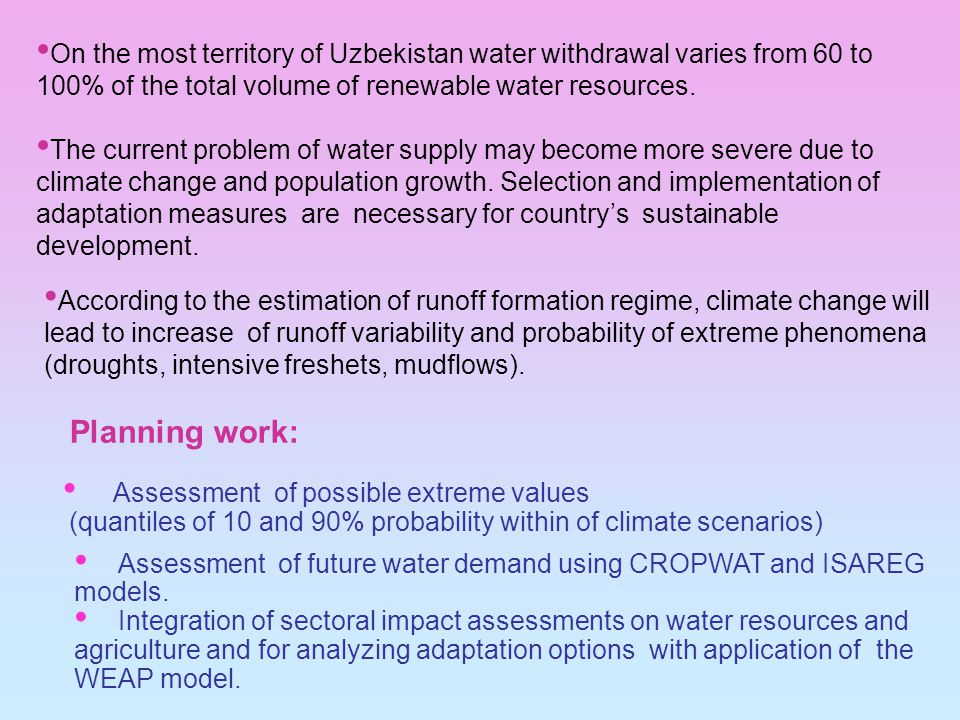 Assessment of future water demand using CROPWAT and ISAREG models.