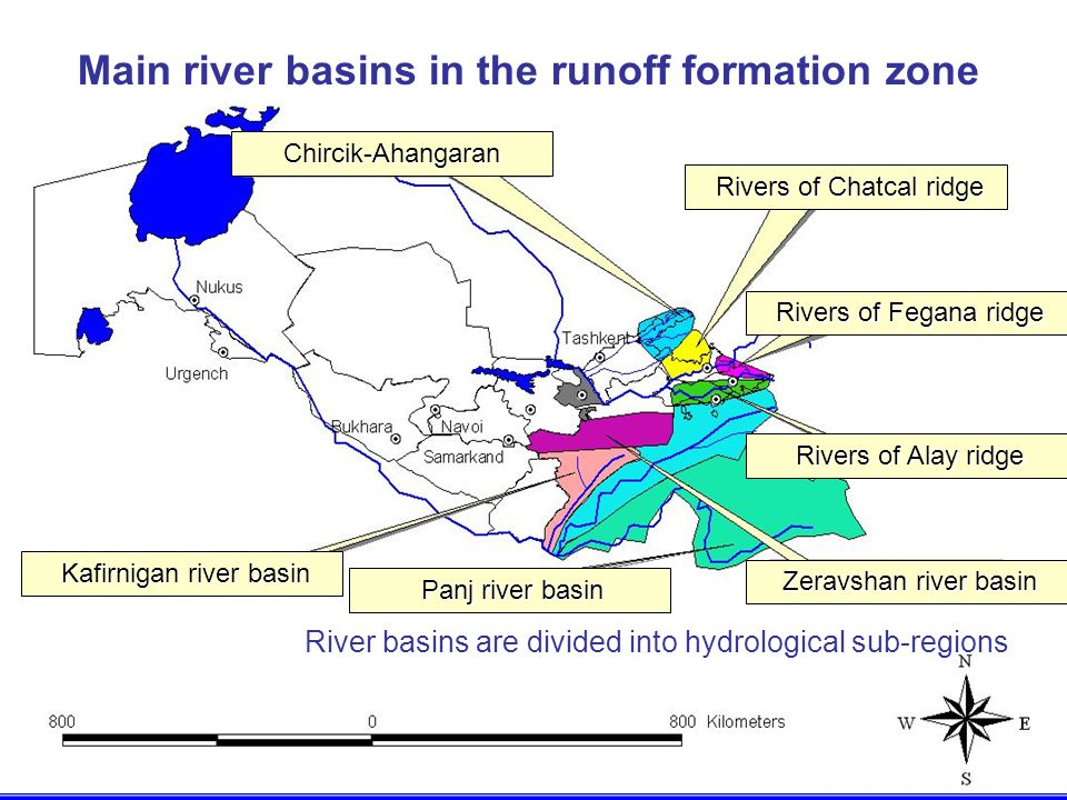 Main river basins in the runoff formation zone River basins are divided into hydrological sub-regions Chircik-Ahangaran Rivers of Chatcal ridge Rivers of Chatcal ridge Rivers of Fegana ridge Rivers of Fegana ridge Rivers of Alay ridge Rivers of Alay ridge Zeravshan river basin Zeravshan river basin Panj river basin Panj river basin Kafirnigan river basin Kafirnigan river basin