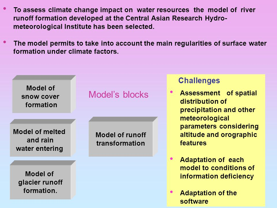 To assess climate change impact on water resources the model of river runoff formation developed at the Central Asian Research Hydro- meteorological Institute has been selected.