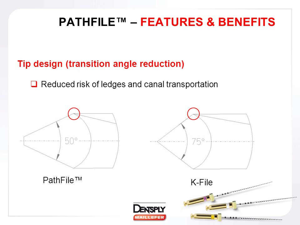 PATHFILE™ – FEATURES & BENEFITS Tip design (transition angle reduction)  Reduced risk of ledges and canal transportation PathFile™ K-File