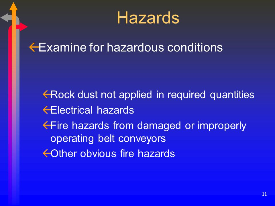 11 Hazards ßExamine for hazardous conditions ßRock dust not applied in required quantities ßElectrical hazards ßFire hazards from damaged or improperly operating belt conveyors ßOther obvious fire hazards