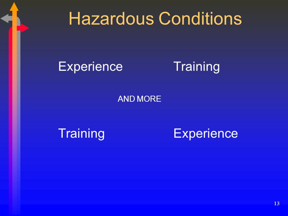 13 Hazardous Conditions ExperienceTraining AND MORE TrainingExperience
