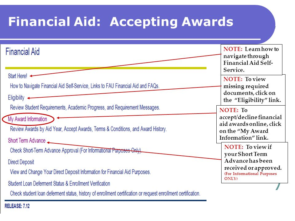 Financial Aid: Accepting Awards NOTE: To accept/decline financial aid awards online, click on the My Award Information link.