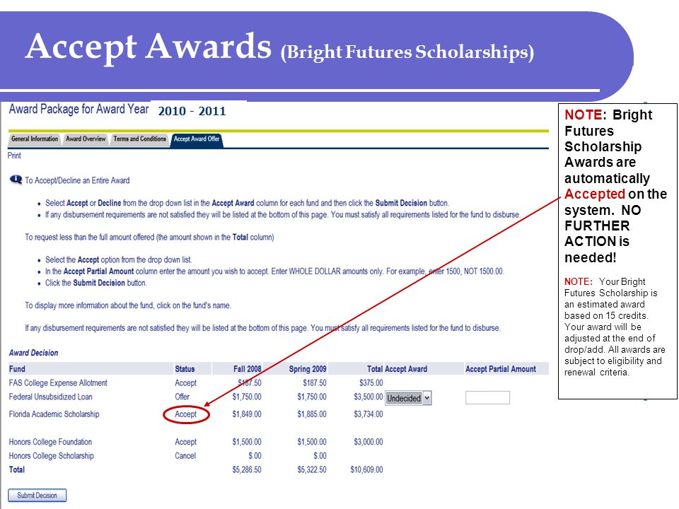 Accept Awards (Bright Futures Scholarships) NOTE: Bright Futures Scholarship Awards are automatically Accepted on the system.